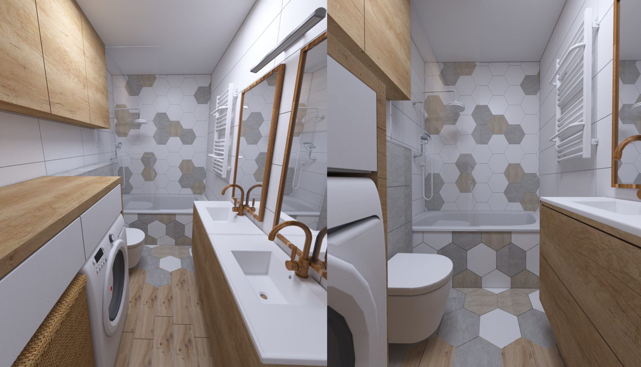łazienka z heksagonami