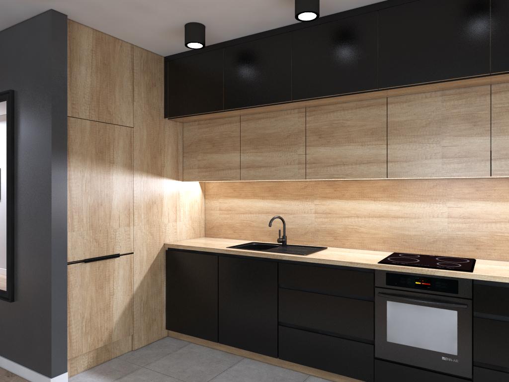 czarne meble kuchenne z drewnem