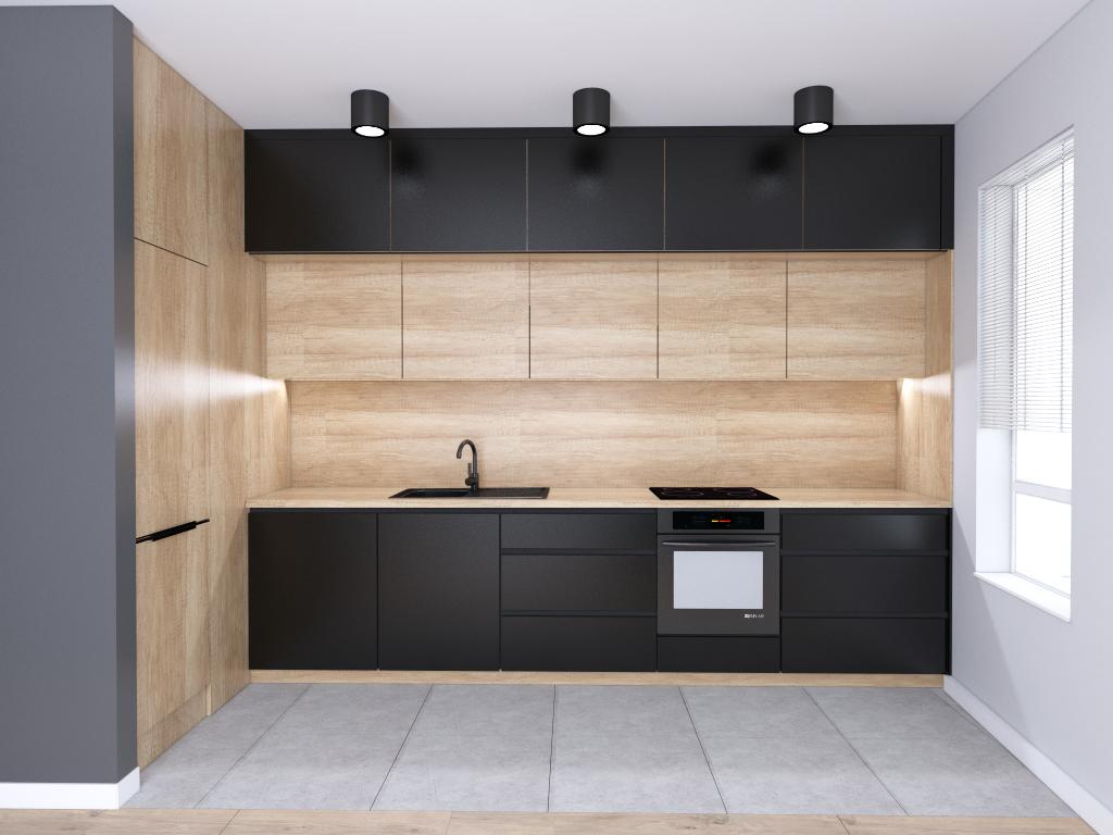 Czarne meble kuchenne z drewnem | projekt mieszkania Warszawa