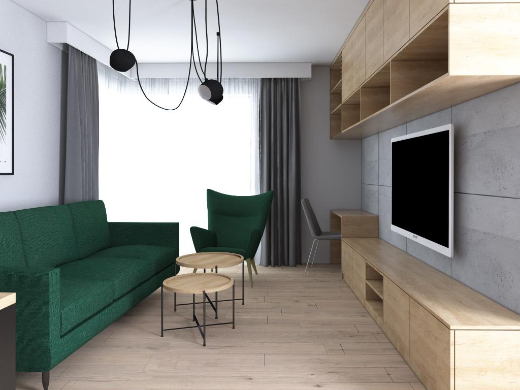 ściana tv z betonem architektonicznym