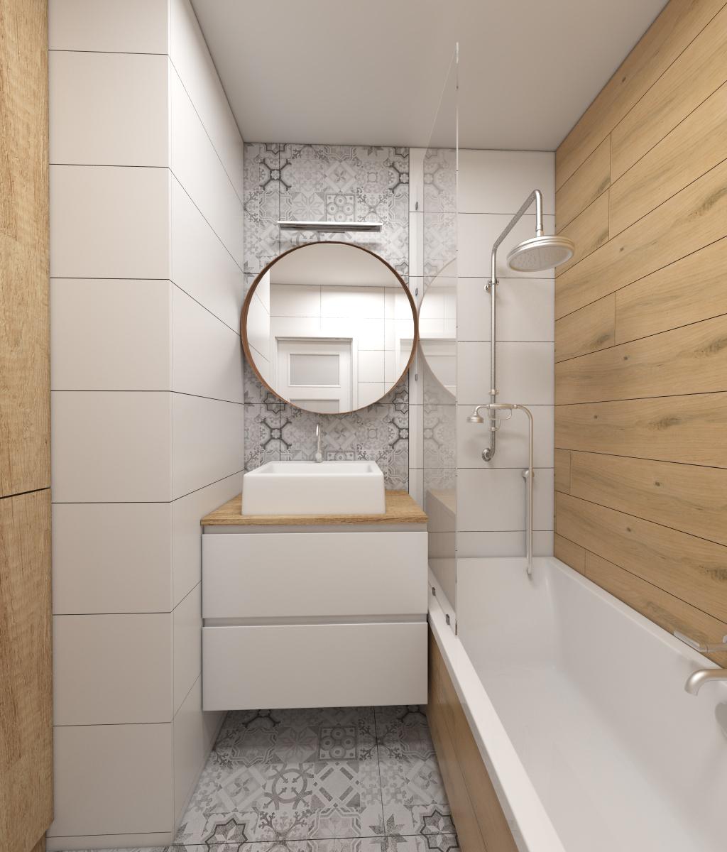 łazienka w drewnie bieli i szarości