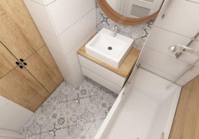 Pomysł na – łazienka w drewnie, bieli i szarości