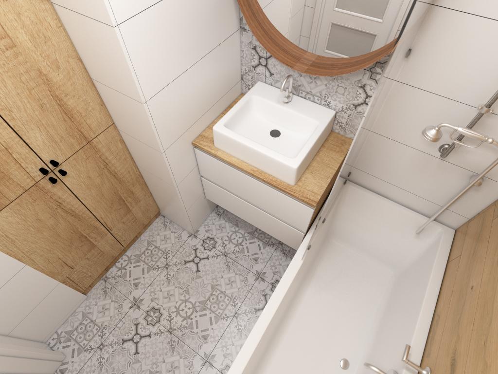 mała łazienka w drewnie bieli i szarości
