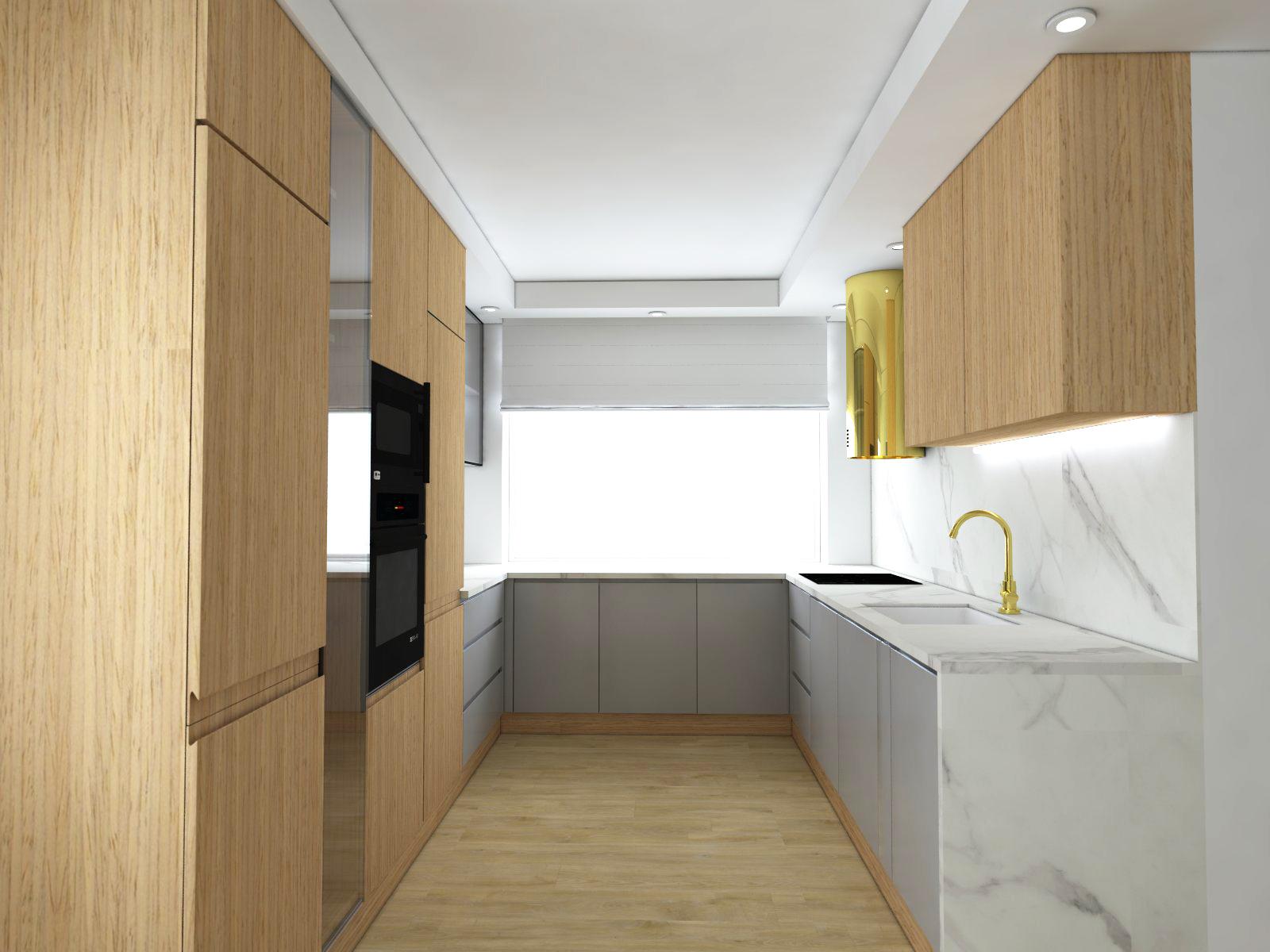 nowoczesna kuchnia szara z drewnem
