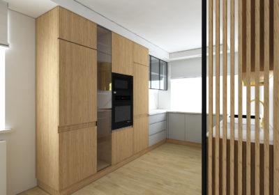 Kuchnia szara z drewnem