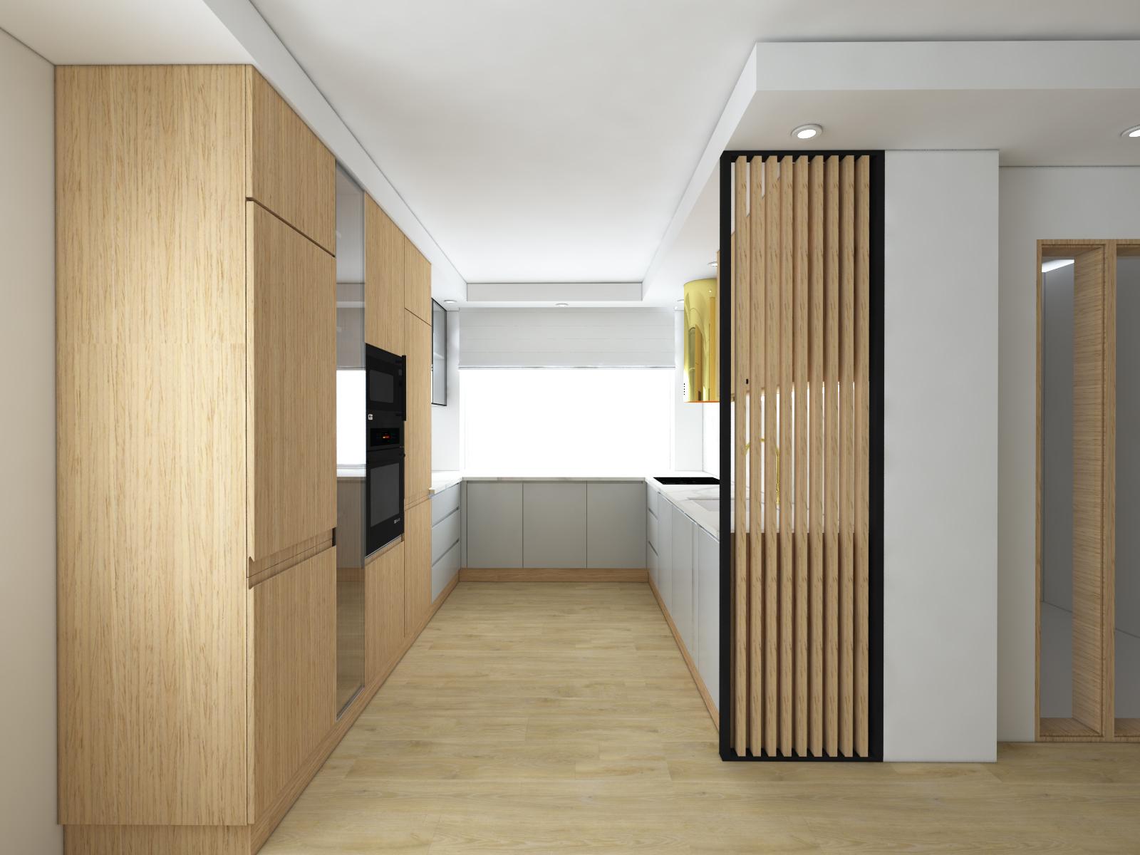 szara kuchnia z drewnem