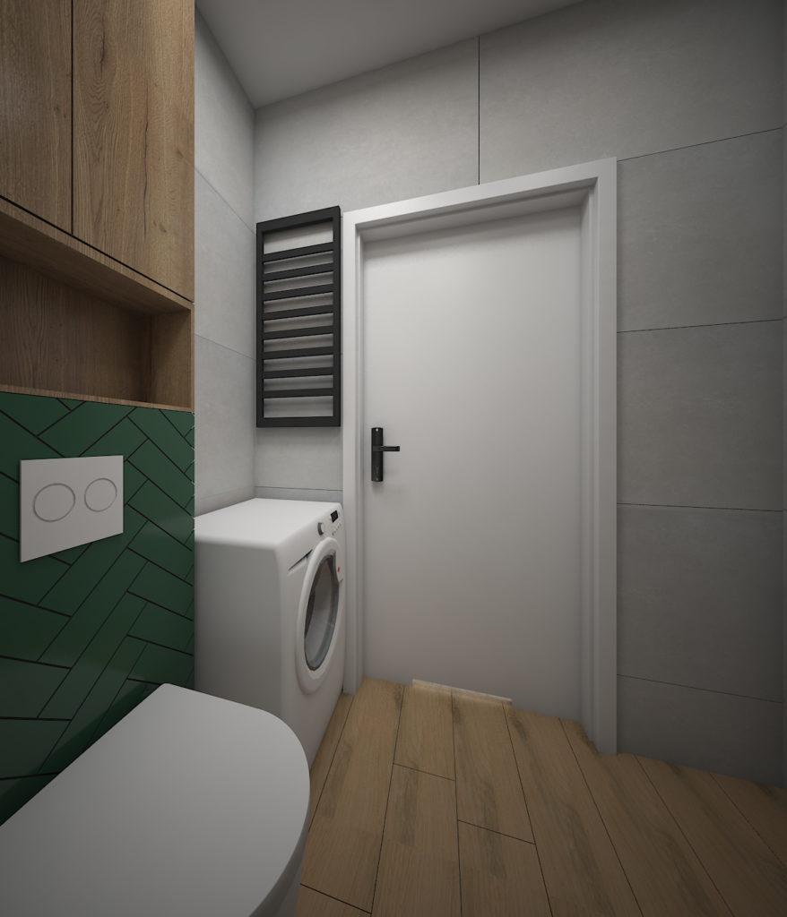 łazienka z butelkową zielenią