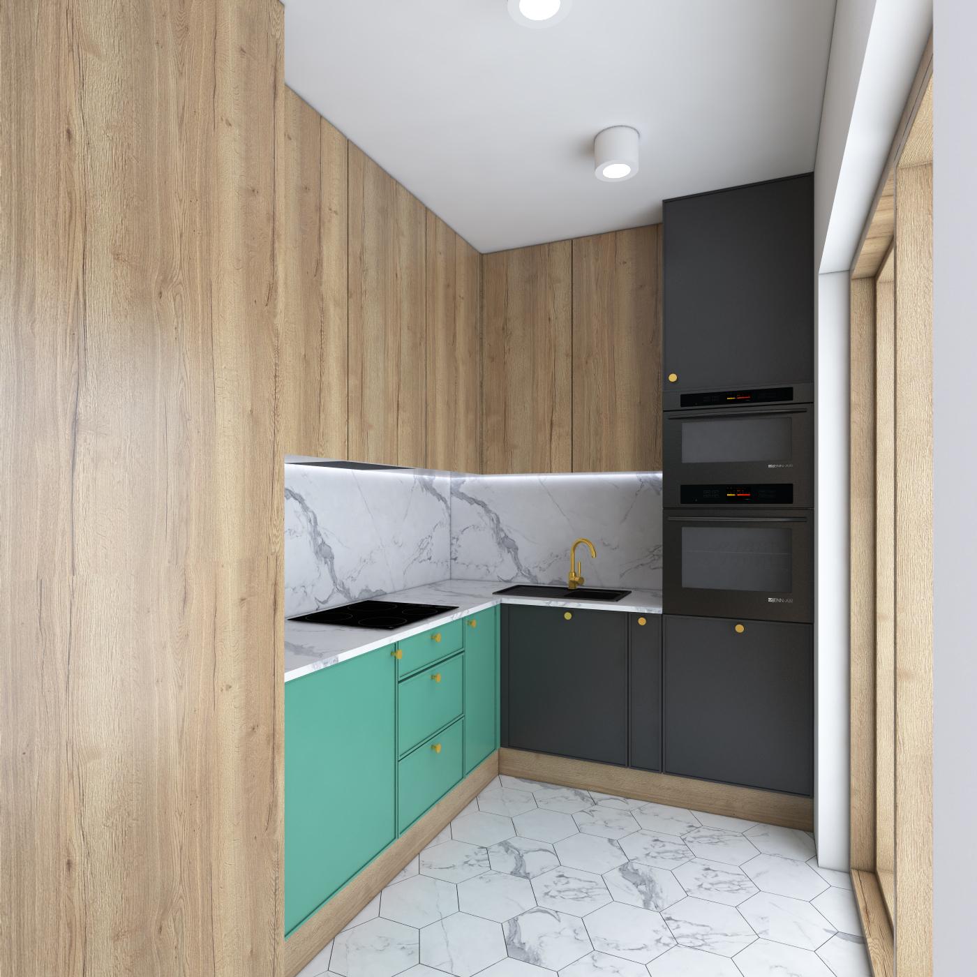 kuchnia czarno zielona