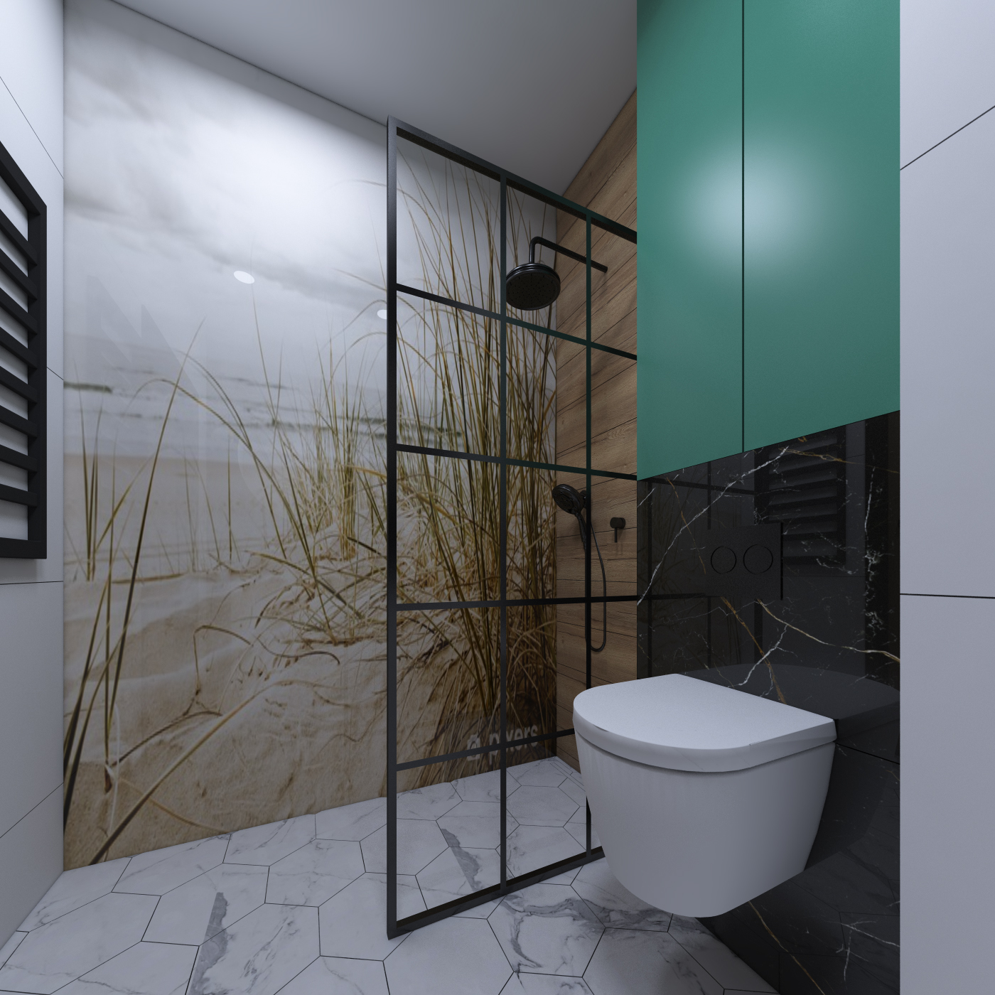 łazienka z grafiką