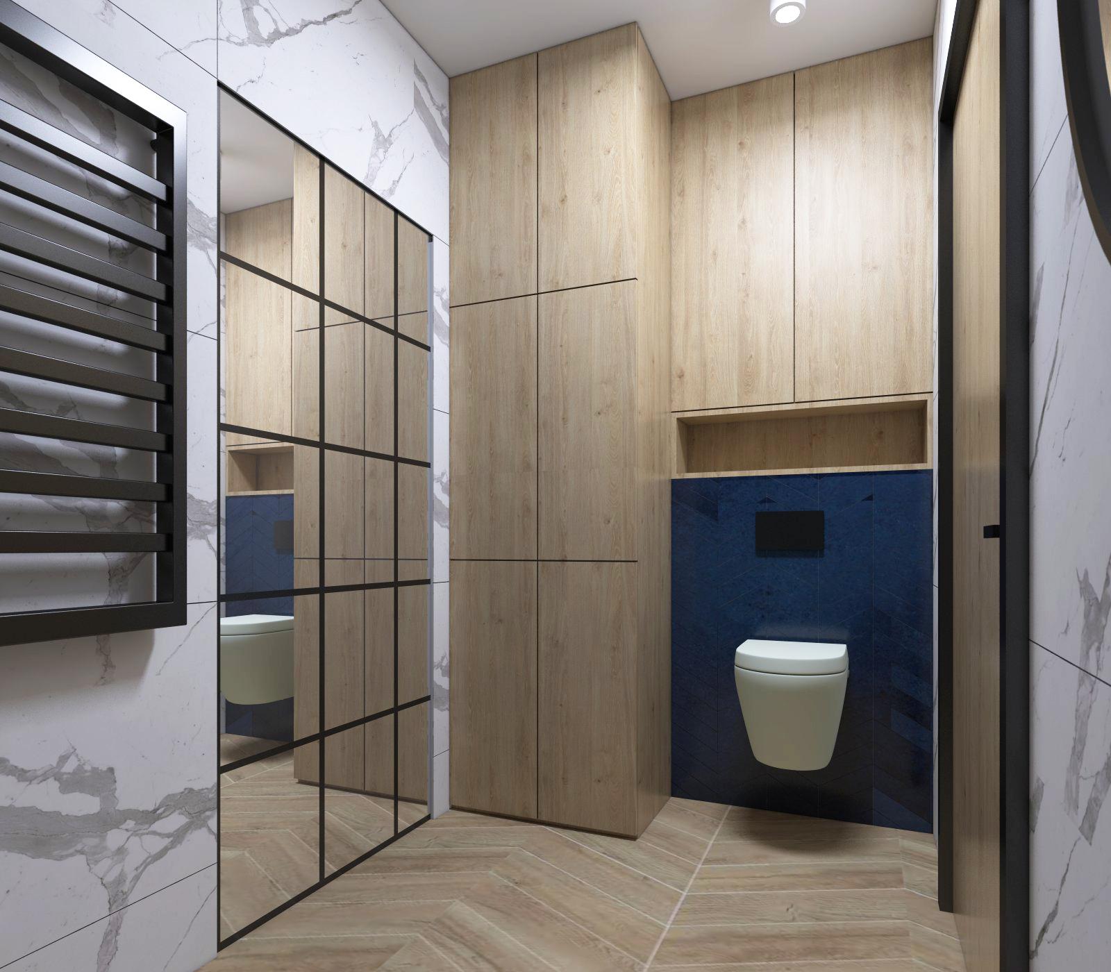 łazienka z granatowymi płytkami