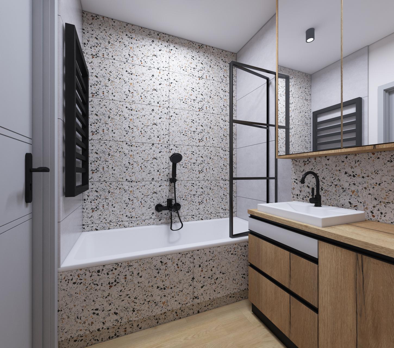 łazienka z płytkami lastryko