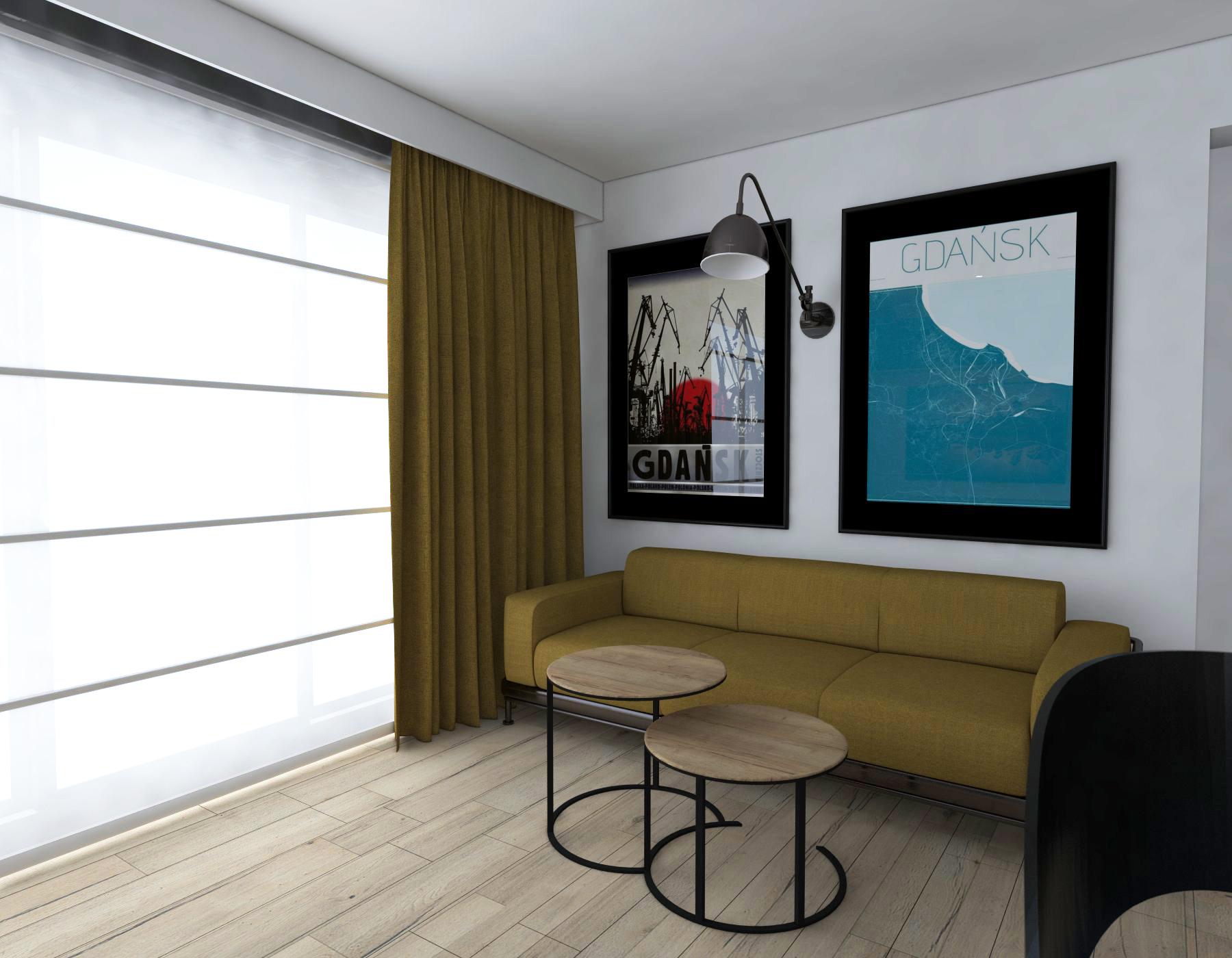 musztardowa sofa w salonie