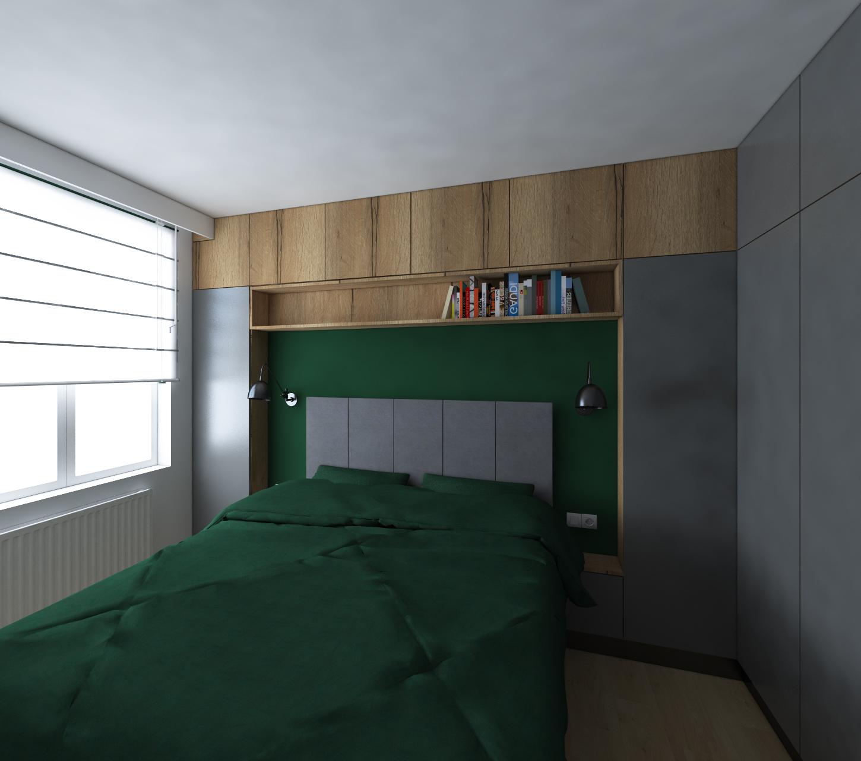 sypialnia z ciemnymi meblami