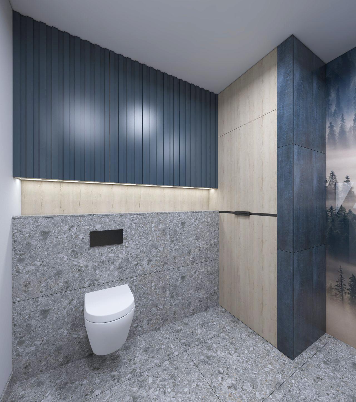 łazienka z granatowymi meblami
