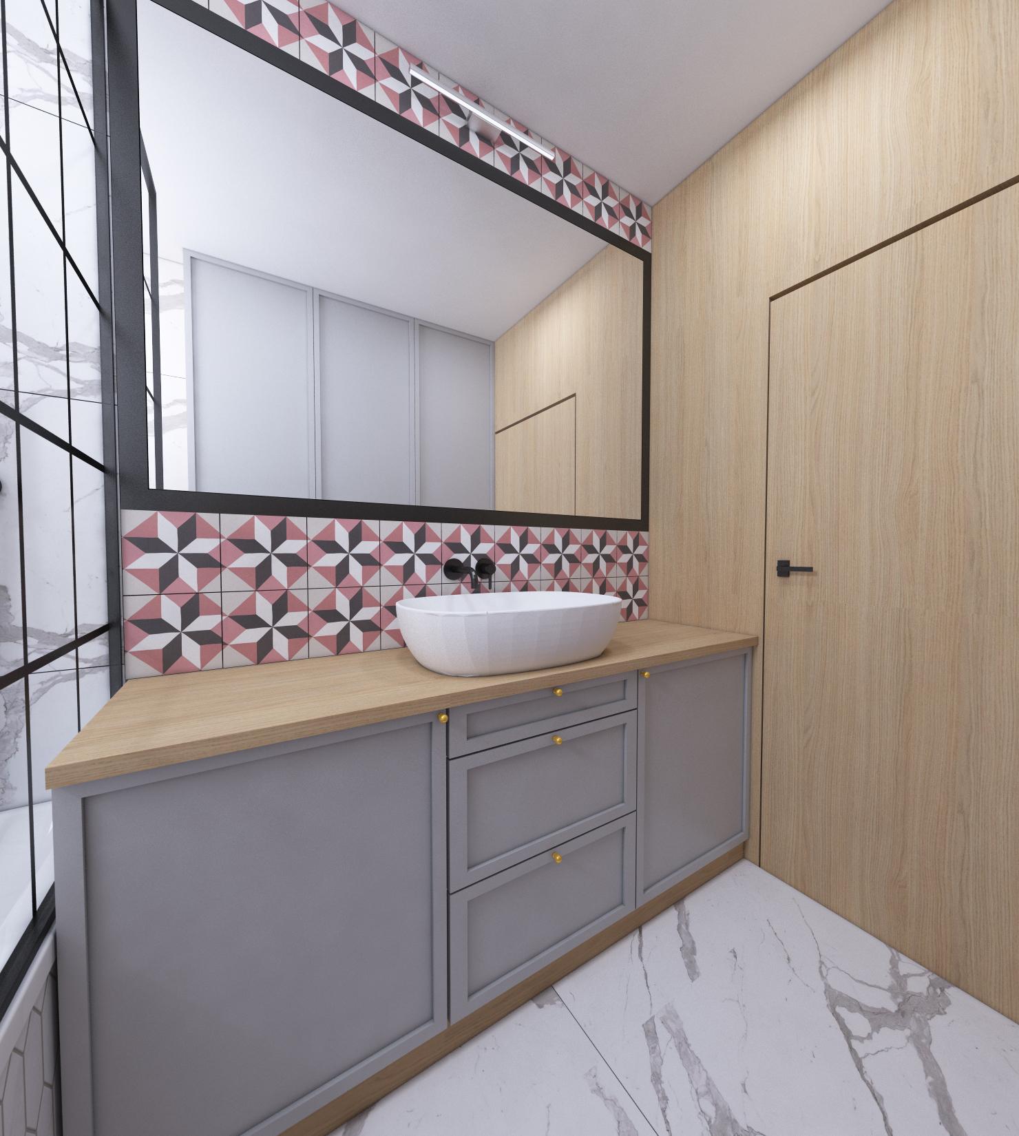 łazienka z różowymi płytkami