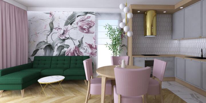 Mieszkanie z pudrowym różem
